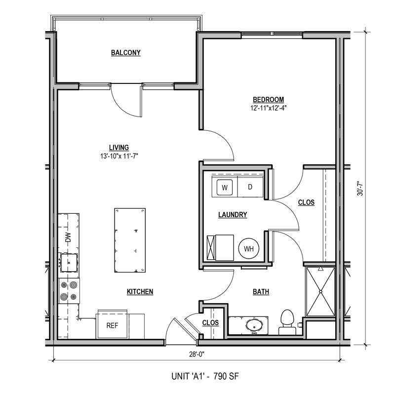 790 sq ft 1 bed 1 bath