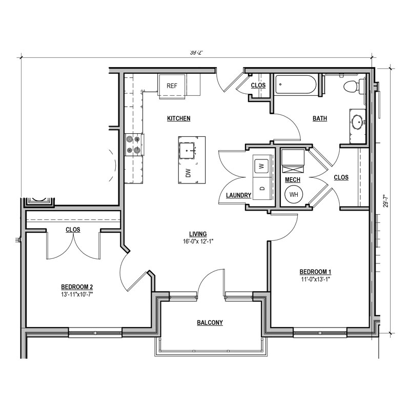 Unique 1 bed 1 bath layout