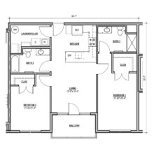 Large 2 bed and bath floor plan