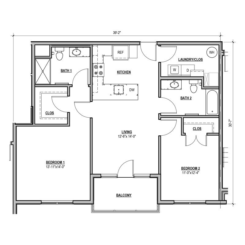 Efficient 2 bed and bath