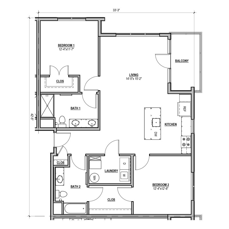 The open layout of 2 bed and 2 bath